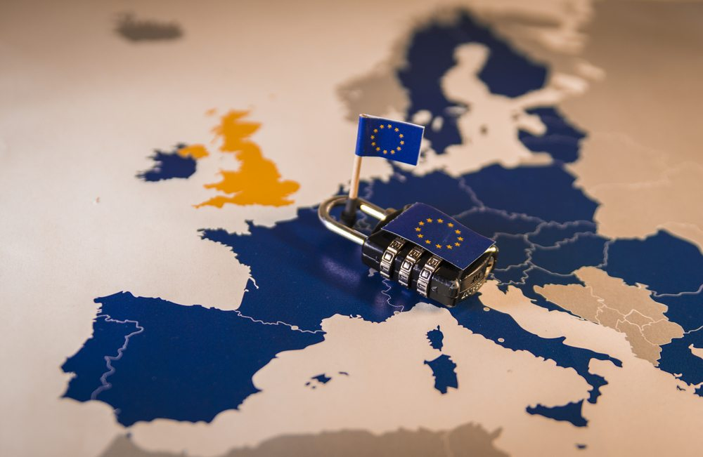 Padlock over the map of Europe signifying GDPR compliance.