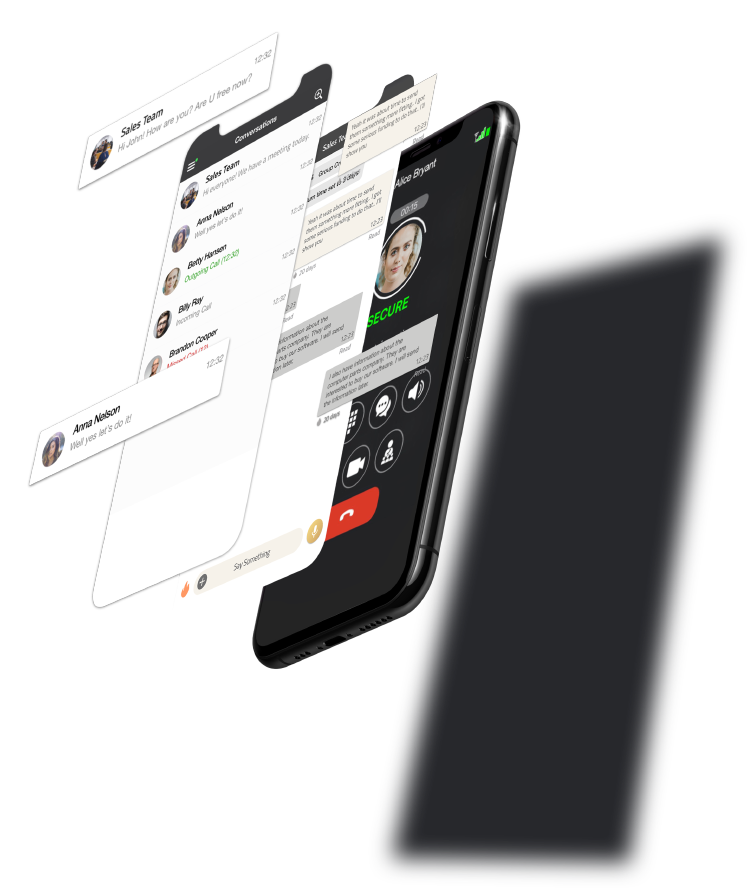 Silent Phone's interface on a smartphone