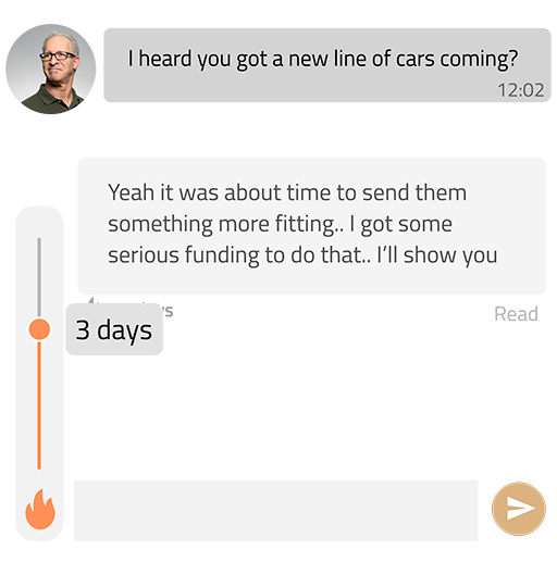 Speech balloons with a burn time slider.