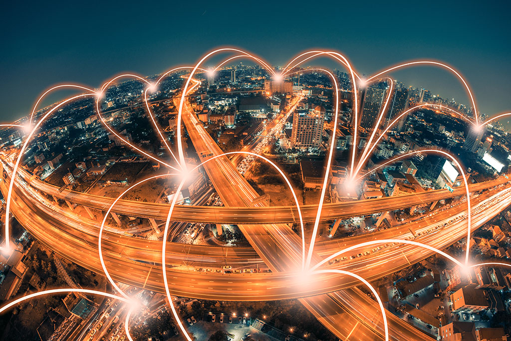 Network connections in a city.