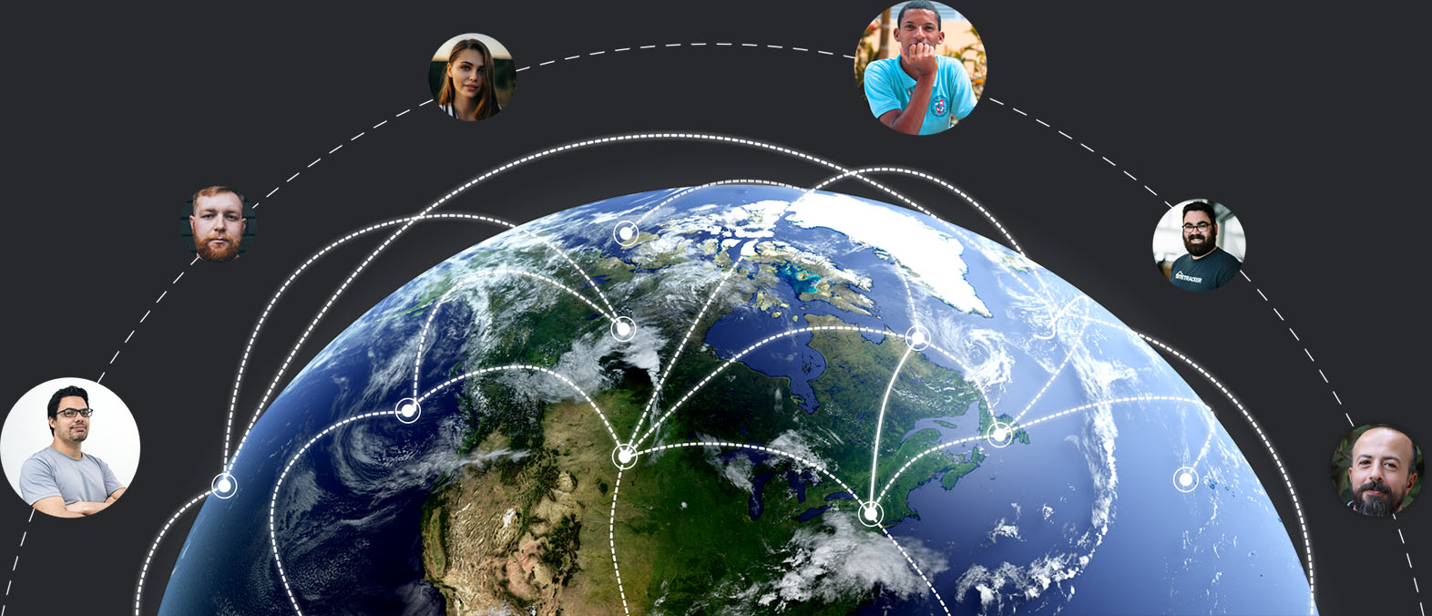 Globe with lines connecting people and locations.