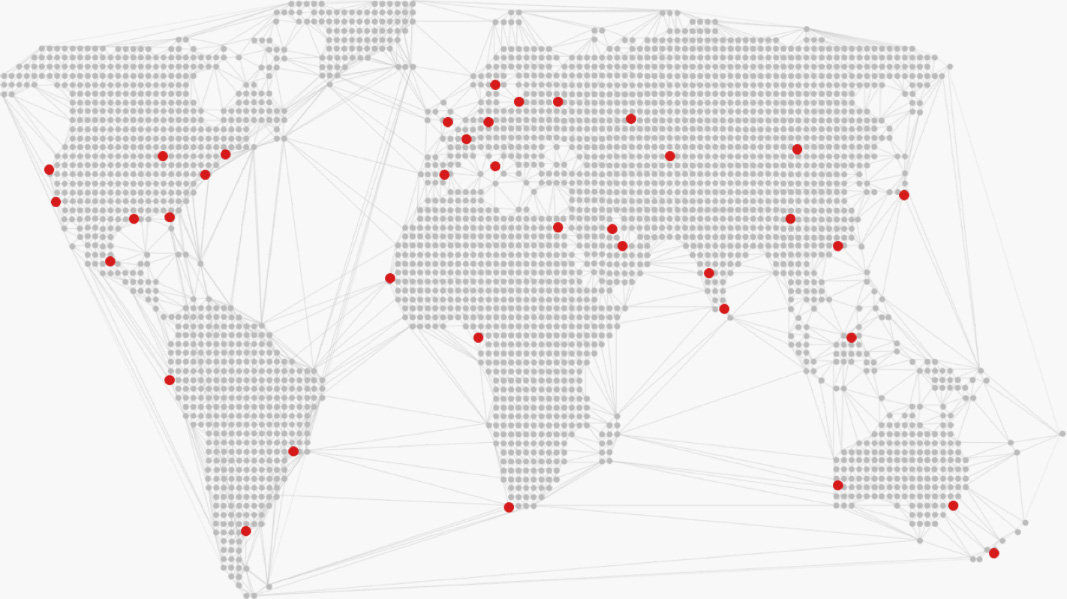 World map with red dots on specific locations.