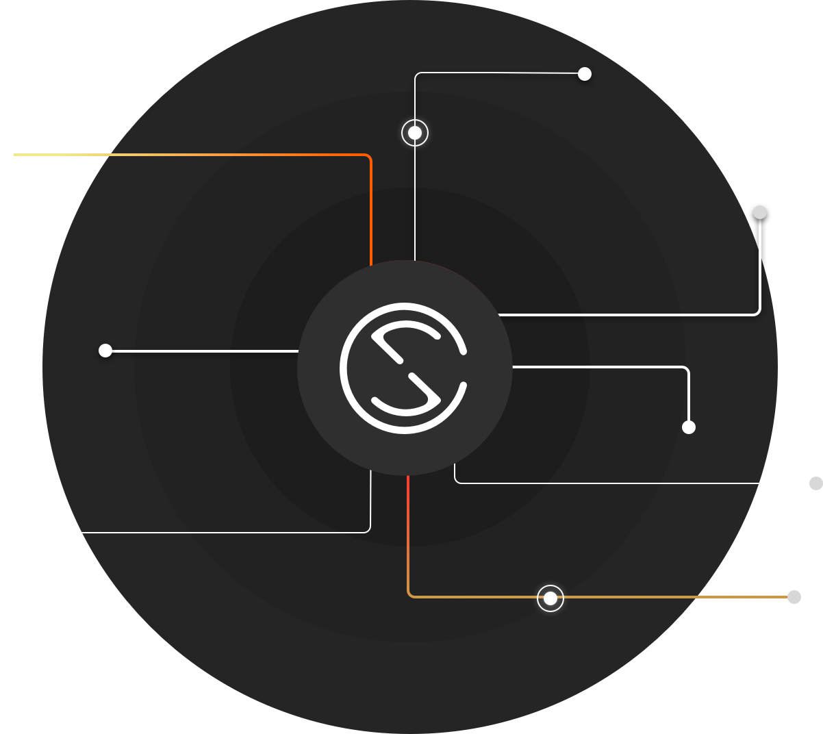 Silent Circle logo with circuit lines.
